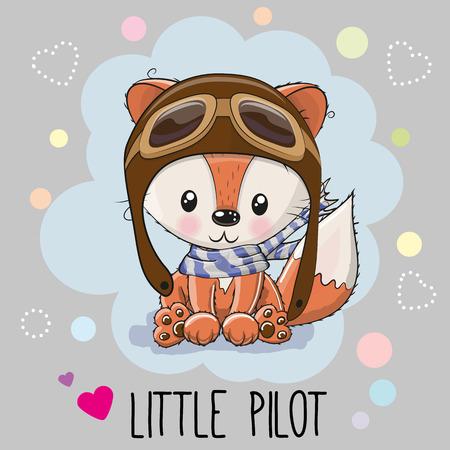hispanic boy: Cute cartoon Fox in a pilot hat