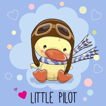 Canard mignon de bande dessinée dans un chapeau pilote