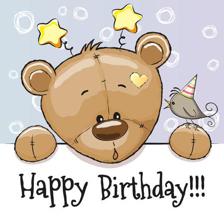 child drawing: Birthday card with Teddy Bear and bird