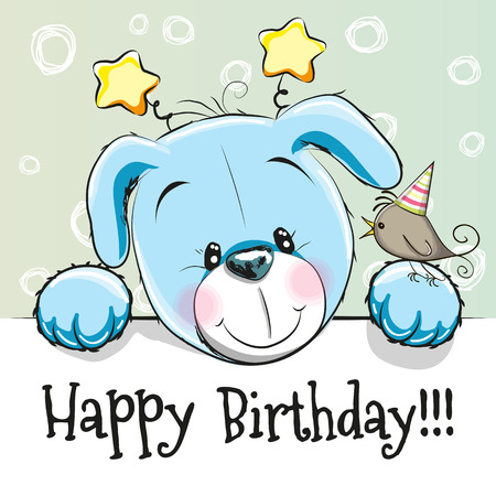 cute puppy: Birthday card with Cute puppy and bird
