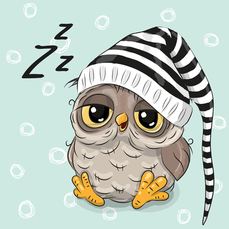 Sleeping cute owl in a hood on a blue background