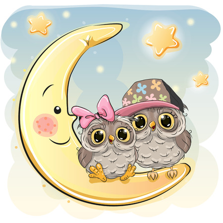 Two Cute Owls is sitting on the moon