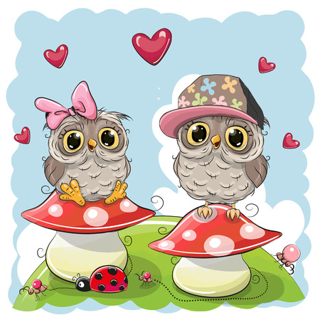day dreaming: Two Cute Cartoon Owls are sitting on mushrooms