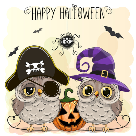 halloween costume: Halloween card with two owls and pumpkin Illustration
