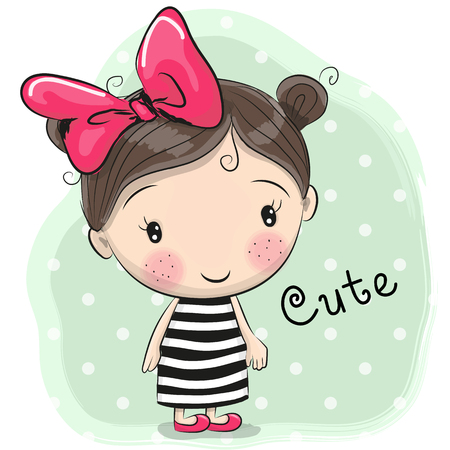 blue eyes: Cute Cartoon Girl with a bow in a striped dress