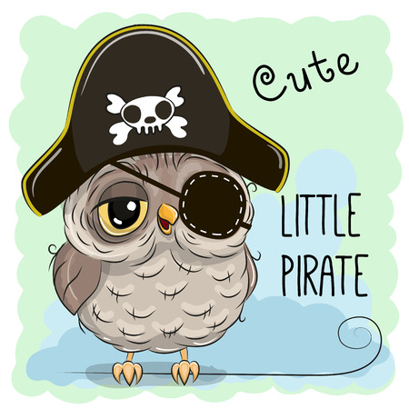 sweet: Cute cartoon Owl in a pirate hat Illustration