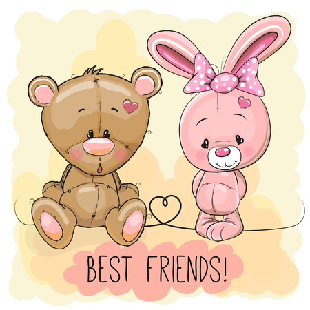 Cute Bear and rabbit on a yellow background