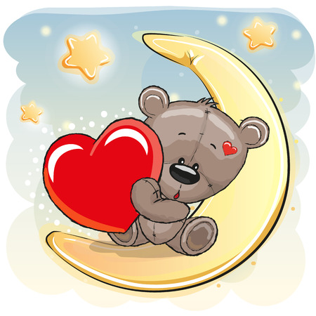 Cute Teddy Bear with heart on the moon