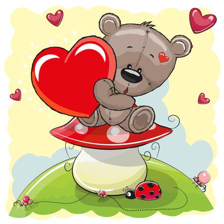 Netter Teddybär mit Herz auf dem Pilz