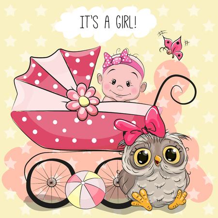 familia animada: tarjeta de felicitación es una niña con carrito de bebé y el búho lindo