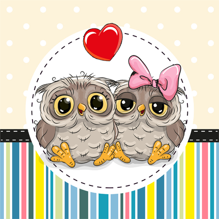 Greeting card with Two cute Cartoon Owls Illustration