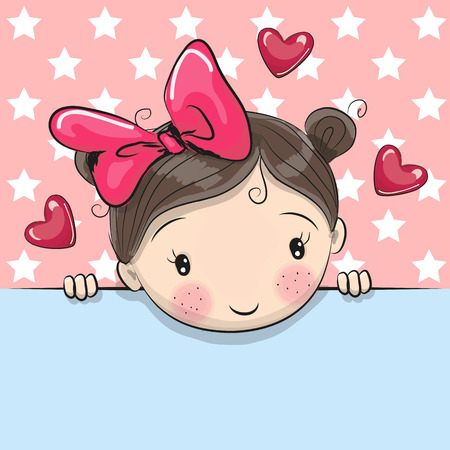 Greeting card cute Cartoon Girl is holding a placard on a stars background Çizim