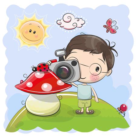 Cute cartoon Boy with a camera on the meadow