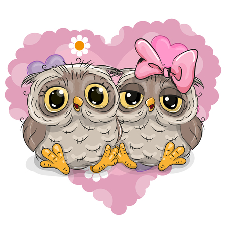 cartoon flower: Two Cute Owls on a background of heart Illustration