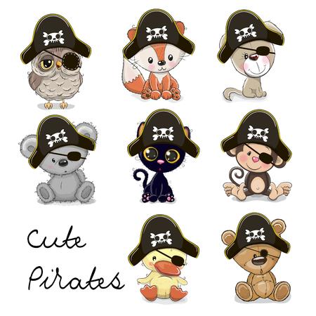 Set van schattige dieren in een piraat hoeden