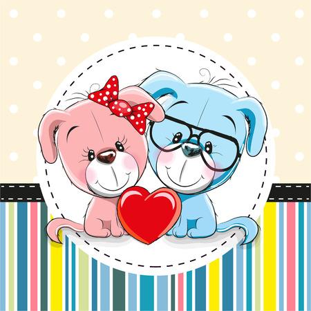 Carte de voeux avec deux chiens de dessin animé mignons