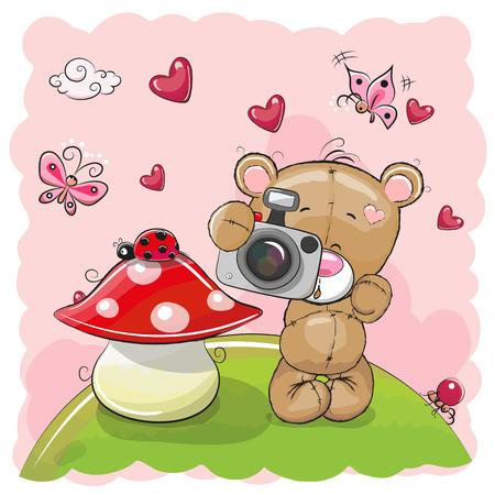 Cute cartoon Teddy Bear with a camera on the meadow