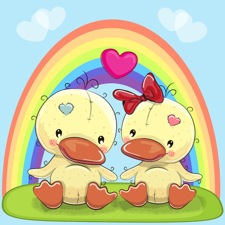 Valentine card with Lovers Ducks and a rainbow