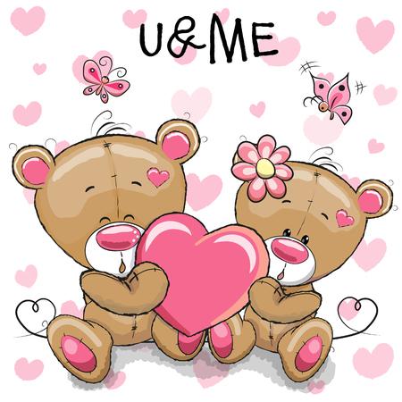 可爱的泰迪熊心形的背景