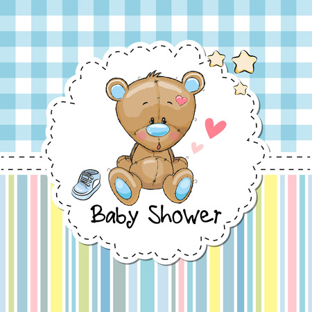 baby in hands: Baby Shower Greeting Card with cute Cartoon Teddy Bear Illustration