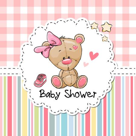 Tarjeta de felicitación de la ducha de bebé con la muchacha linda de la historieta del oso de peluche Foto de archivo - 66404767