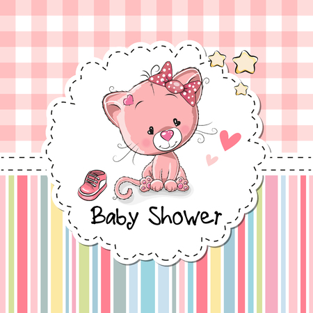 Baby Shower Greeting Card with cute Cartoon Kitten Ilustracja
