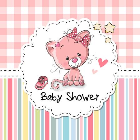 Baby Shower Grußkarte mit niedlichen Cartoon-Kätzchen Standard-Bild - 66400346