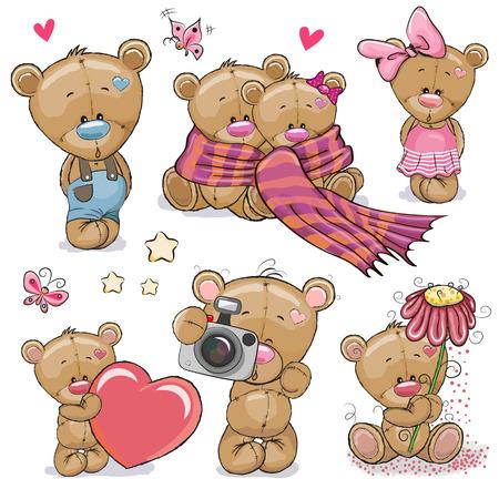 Conjunto de lindo oso de peluche de dibujos animados sobre un fondo blanco