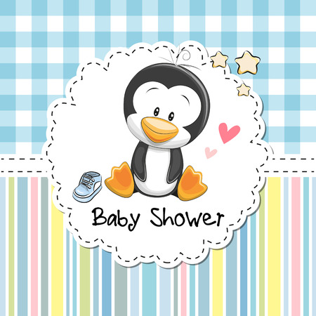 Baby Shower Greeting Card with cute Cartoon Penguin boy Ilustracja