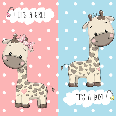 아기 샤워 인사말 카드와 기린 소년과 소녀 일러스트