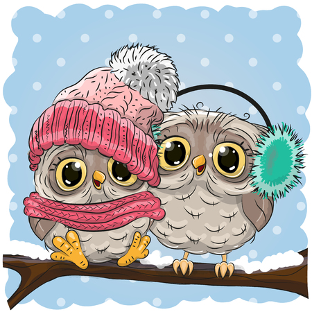 cartoon hat: Two cute drawn Owls  sits on a branch in a snow Illustration
