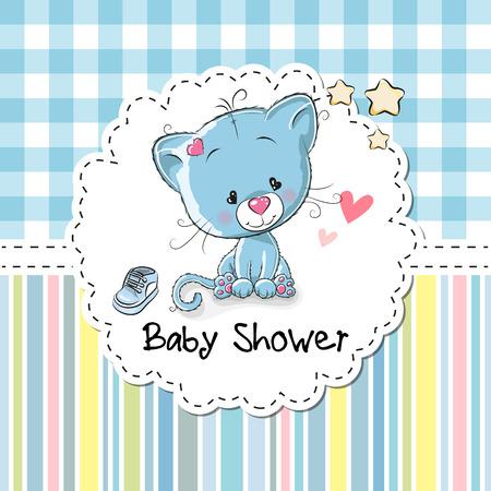 귀여운 만화 새끼 고양이와 베이비 샤워 인사말 카드