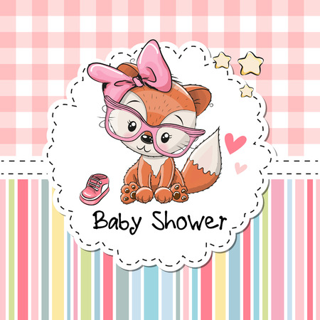 Baby Shower Greeting Card with cute Cartoon Fox