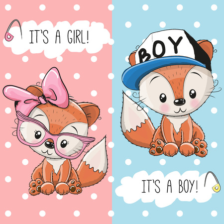 Baby Shower greeting card with Foxes boy and girl Illustration