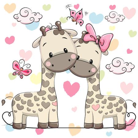 Deux girafes mignons de bande dessinée
