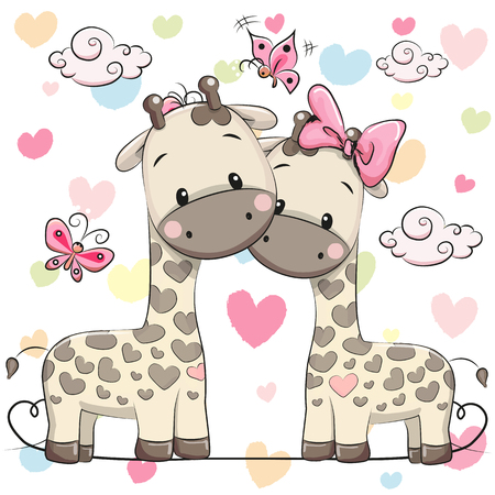 Two cute cartoon giraffes