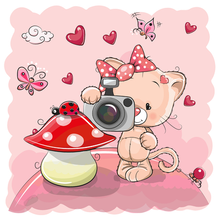Cute cartoon Kitten with a camera on the meadow