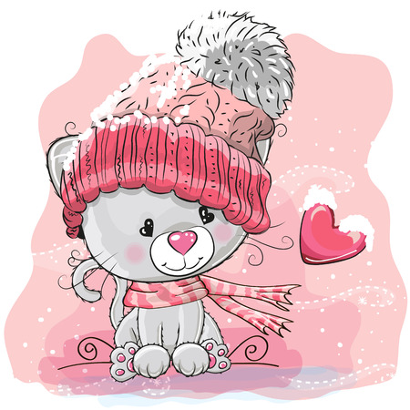 Cute Cartoon Kitten in a knitted cap sits on a snow Illustration