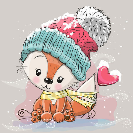 Cute Cartoon Fox in a knitted cap sits on a snow Stock Illustratie