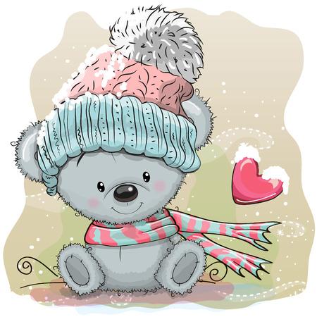 귀여운 만화 테 디 베어 니트 모자에 눈에 앉아있다.