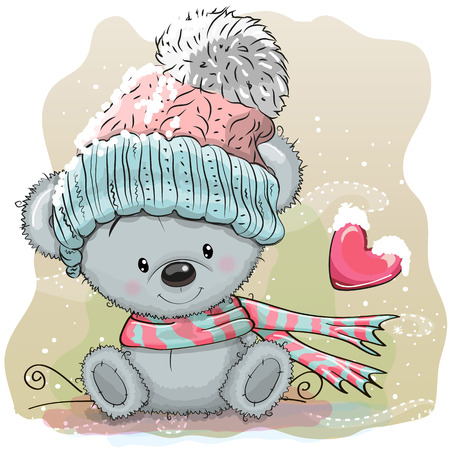 Cute Cartoon Teddy Bear in a knitted cap sits on a snow Ilustracja