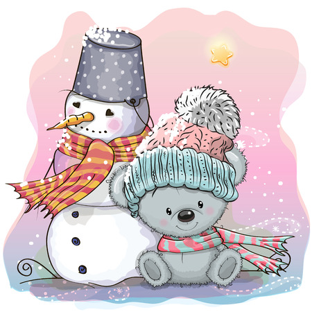 Cute Cartoon Teddy Bear in a knitted cap and snowman Stock Illustratie