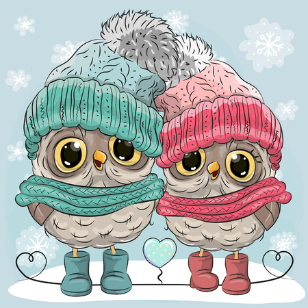 Cute winter illustration Two Owls Boy and Girl in hats and scarves
