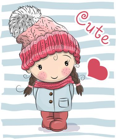 Cute Cartoon girl in a hat and coat