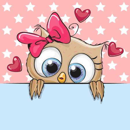 cute cartoon girl: Greeting card cute Cartoon Owl Girl is holding a placard on a stars background Illustration