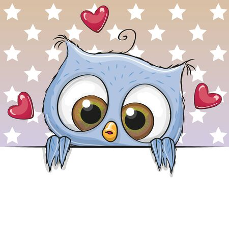 cute background: Greeting card cute Cartoon Owl is holding a placard on a stars background