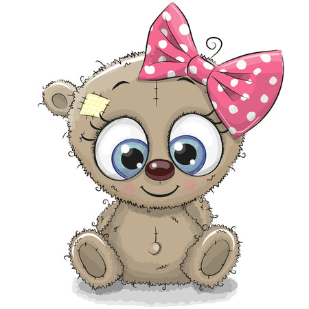 Cute Cartoon Teddy Bear girl isolated on a white background