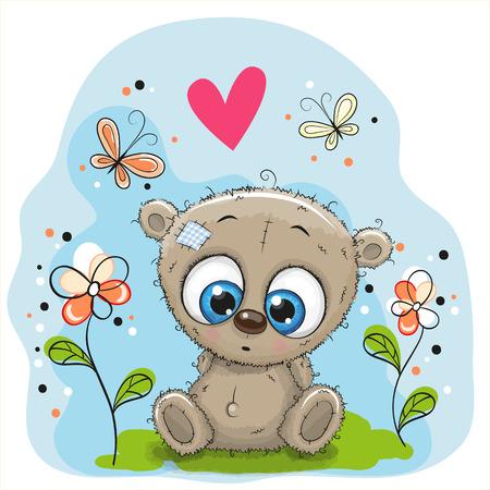 Teddy Bear mignon avec des fleurs et des papillons sur la prairie Banque d'images - 66540721