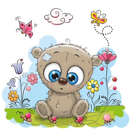 baby bear cartoon: Cute Cartoon Teddy Bear with flowers and butterflies on a meadow