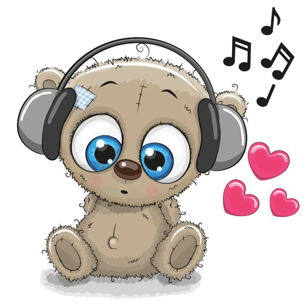 life style people: Cute cartoon Teddy Bear with headphones on a white background